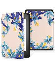 GVIEWIN All-New Kindle Paperwhite 10th Generation 2018 Case, Water-Safe Flowers Pattern Leather PC Hard Shell Auto Wake/Sleep Cover for new Kindle Paperwhite eBook Reader 10 Generation (White/Blue)