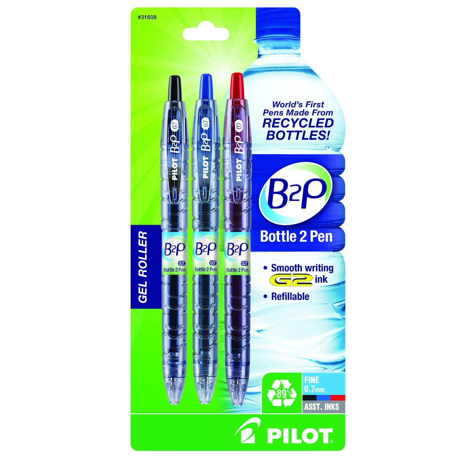 PILOT B2P - Bottle to Pen Refillable & Retractable Rolling Ball Gel Pen Made From Recycled Bottles, Fine Point, Black/Blue/Red G2 Inks, 3-Pack (31608)