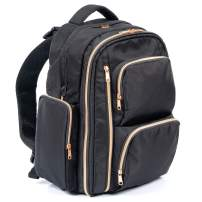 Large Capacity Diaper Bag Backpack, Black Nylon Diaper Bag with Rose Gold YKK Zippers, Comes with Two Packing Cubes, Wet/Dry Bag, Changing Pad, and Stroller Straps by Bably Baby (Black)