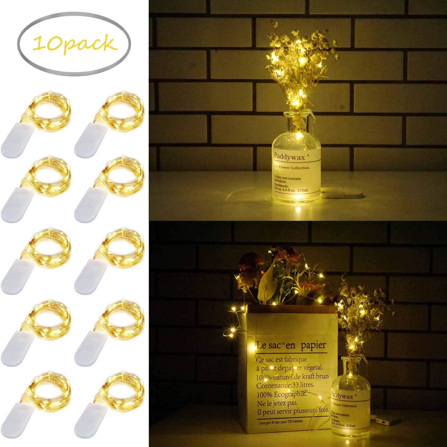 10 Pack Fairy Lights Battery Operated 6.6ft 20 Led Mini String Lights Silver Wire Starry Lights for DIY Wedding Party Festival Halloween Christmas (Warm White)
