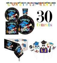 "Serves 30 | Complete Party Pack | Congrats Grad Party Supplies | 9"" Dinner Paper Plates 