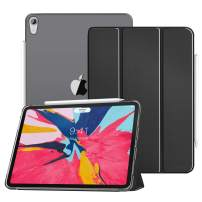"""MoKo Case Fit iPad Pro 11"""" 2018 - Translucent Frosted Back Protector Smart Shell Stand Cover with Pencil's Magnetic Attachment Side Opening Fit iPad Pro 11 Inch 2018 - Black (Auto Wake/Sleep)"""