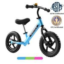 Gonex Kids Balance Bike 12 Inch No Pedal for 2 3 4 5 Years Old Boys Girls Starter Toddler Training Bike with EVA Foam Tires/Inflatable Rubber Tires, Green Blue Pink