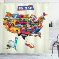 """Ambesonne Wanderlust Shower Curtain, US Map Seashore and Sunflowers Tourist Attractions Jersey Cow Milk Corn Field, Cloth Fabric Bathroom Decor Set with Hooks, 75"""" Long, Cream Blue"""