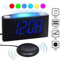Loud vibrating Alarm Clock with Bed Shaker for Bedrooms, Heavy Sleepers Deaf Hard of Hearing Seniors - Night Light, Large Digital Display & Dimmer, 2 USB Chargers, 12/24H DST, Plug-in & Battery Backup
