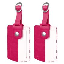 Luggage Suitcase Tags, Fintie Travel Baggage ID Identifiers Label Tag with Snap Closure - Set of 2, Magenta/White