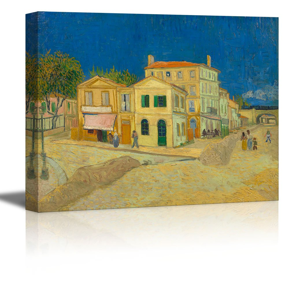"""wall26 The Yellow House by Vincent Van Gogh - Oil Painting Reproduction on Canvas Prints Wall Art, Ready to Hang - 32"""" x 48"""""""