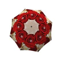 Red Roses Umbrella Floral Design - Stick Designer Umbrella for Women - Vintage Umbrella Windproof - Colorful Flower Umbrella with Hook Handle Fashion Umbrella Strong Durable by LB