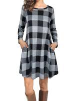 Faddare Checked Dresses for Women,Classic Pleated Dress Juniors,Black White L