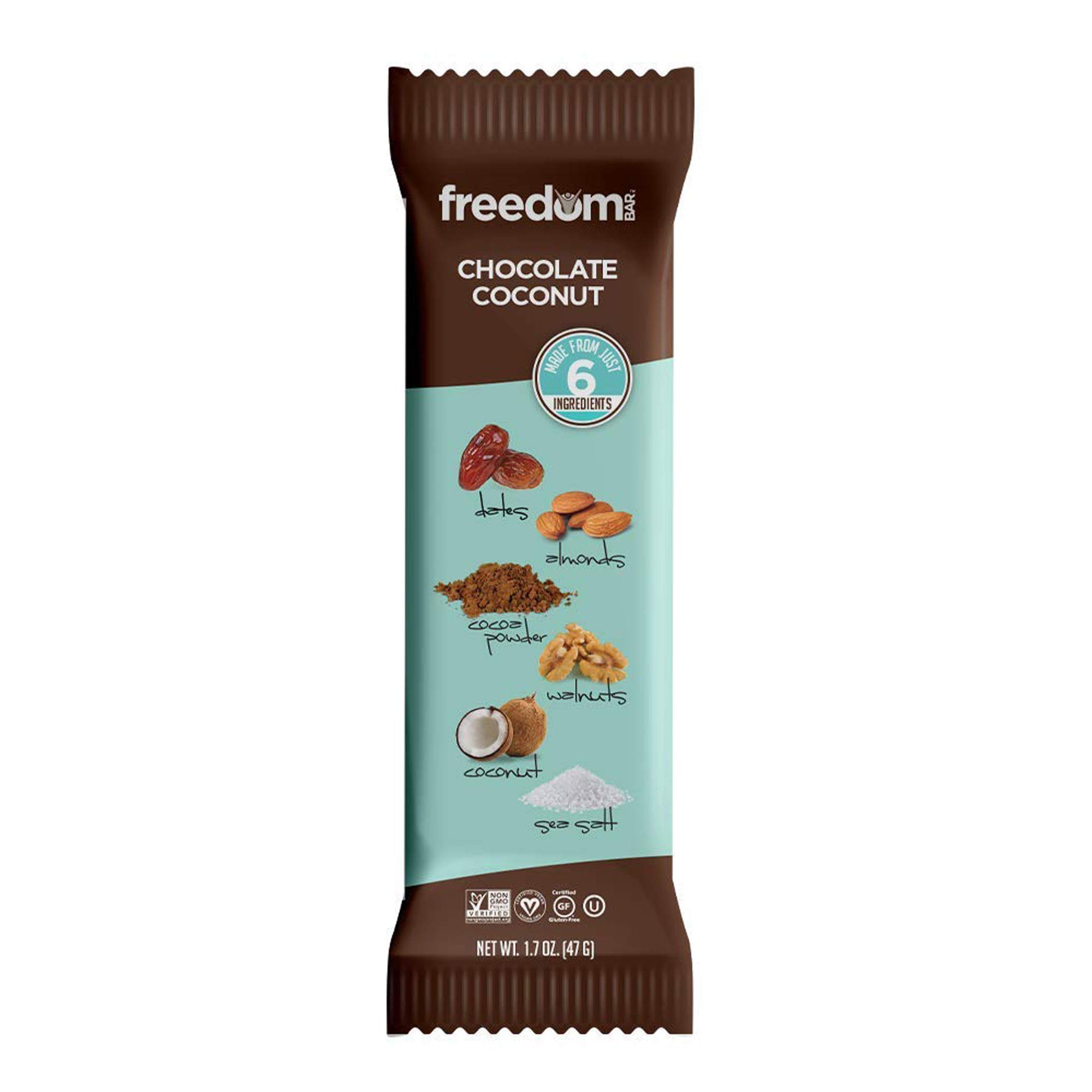 Freedom Bar, Healthy Fruit and Nut Bar - Dairy and Gluten Free, Organic Energy Snack, AIP Friendly and Kosher - 15 Bars, Chocolate Coconut Flavor