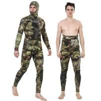 Flexel Camo Spearfishing Wetsuits Men 3mm 5mm 7mm Premium Neoprene Camouflage 2-Pieces Hoodie Freediving Fullsuit for Scuba Diving Snorkeling Swimming