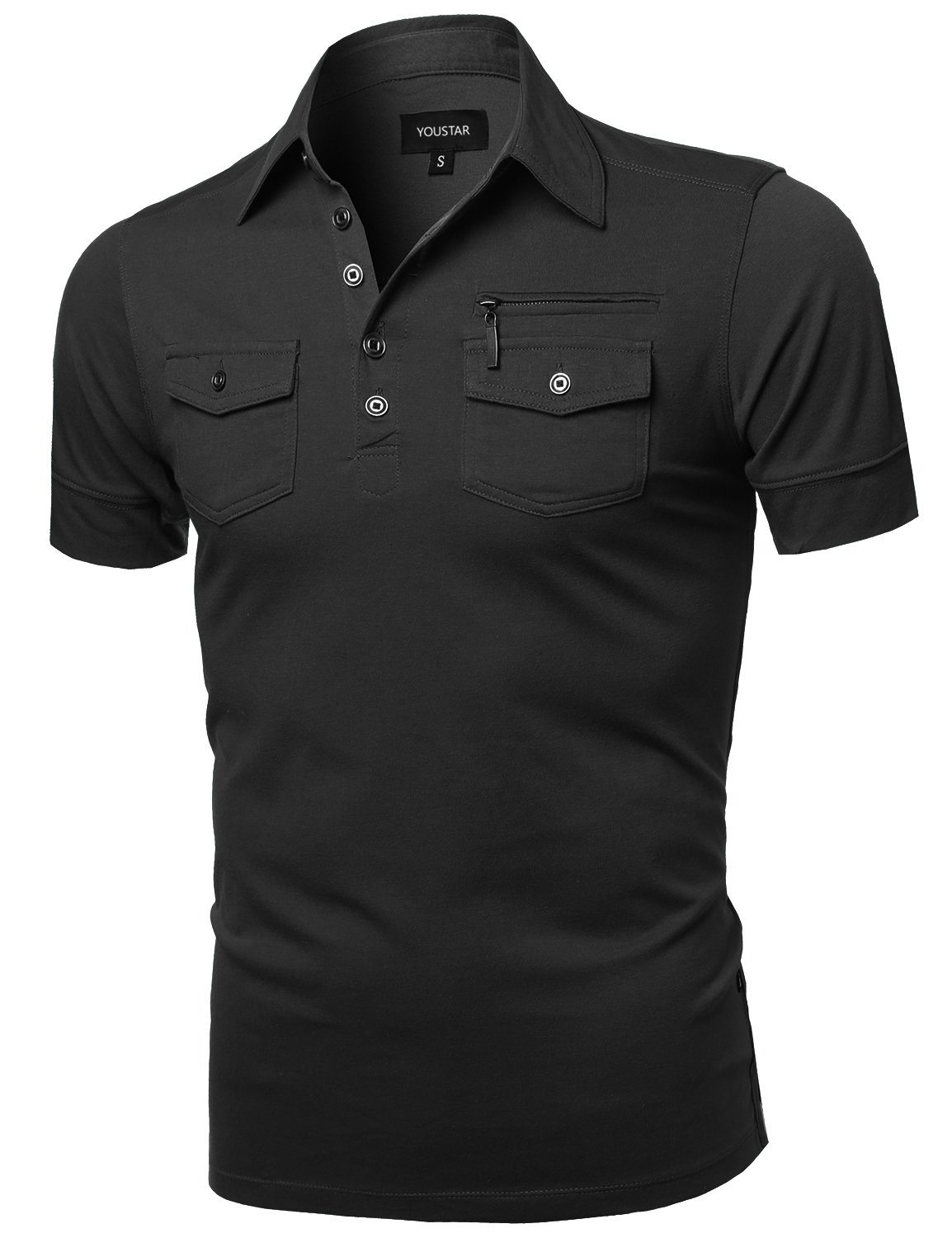 Youstar Men's Solid Short Sleeves Button Placket Pattern Design Polo Shirt