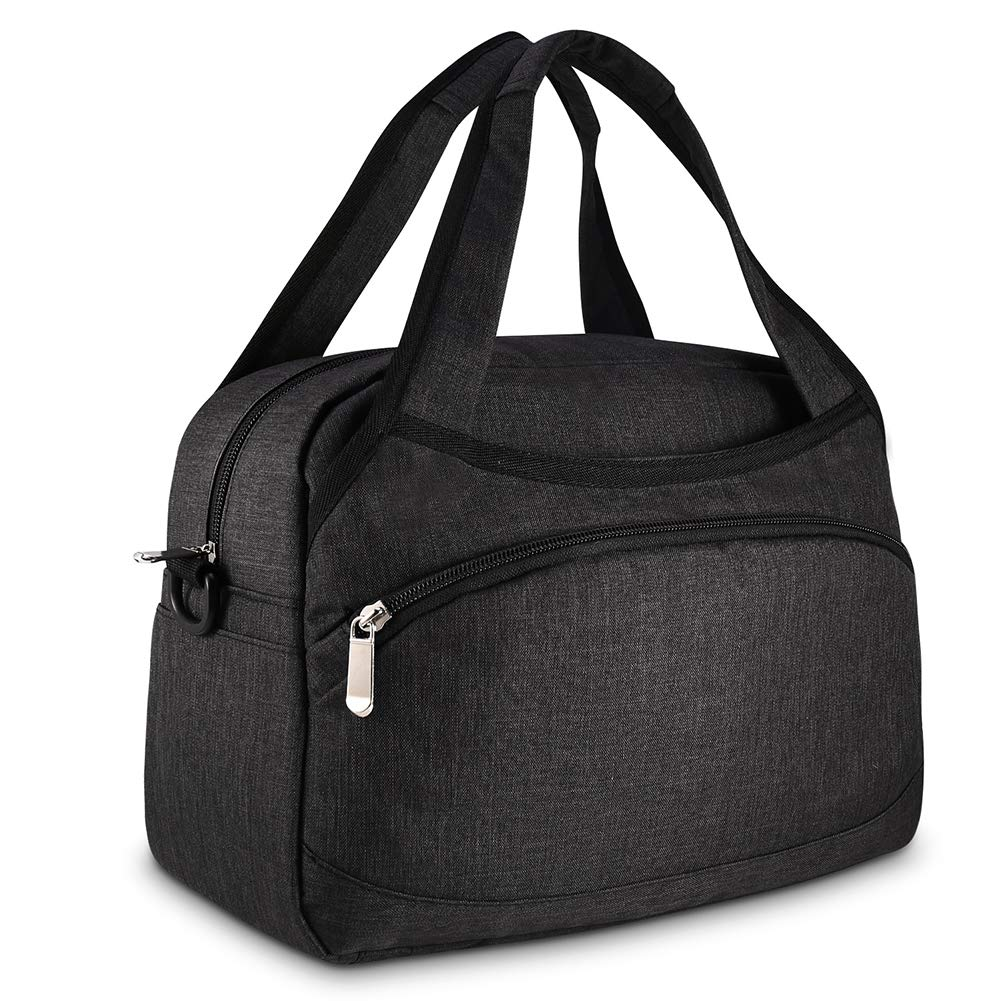 BDBAG Lunch Bag Cooler Bag Women Tote Bag Insulated Lunch Box Water-resistant Thermal Lunch Bag Soft Liner Lunch Bags for women/Picnic/Boating/Beach/Fishing/Work (Black)