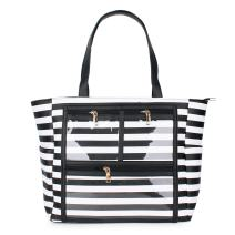PU Striped Handbag Essential Oils Carrying Bags Water Resistant with multiple display windows