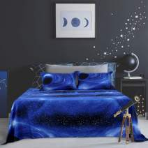 PiccoCasa Galaxy Bed Sheet Set,4 Piece Soft Polyester Microfiber Bedding Set,Including 3D Space Star Theme Bed Sheet & Fitted Sheet with 2 Pillowcases Blue Full