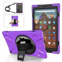 MoKo Case Fits Fire HD 10 Tablet (7th/9th Generation, 2017/2019 Release), PC + TPU Full-Body Rugged Back Cover 360 Degree Rotating Kickstand Shell with Shoulder Strap and Hand Strap - Purple