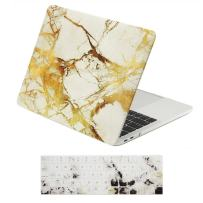 """TOP CASE MacBook Pro 13 inch Case 2019 2018 2017 2016 Release A2159 A1989 A1706, 2 in 1 Signature Bundle Marble Pattern Hard Case+Keyboard Cover Compatible MacBook Pro 13"""" Touch Bar, White/Gold"""