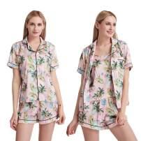 Cindyouth Womens Sleepwear Print 3 Pieces Silk Satin Button Down Short Sleeve Cami Pajama Sets Loungewear S-XXL