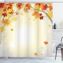 """Ambesonne Fall Shower Curtain, Soft Image of Faded Shedding Fall Leaves from Tree Motion in Nature Concept Print, Cloth Fabric Bathroom Decor Set with Hooks, 84"""" Long Extra, Orange Yellow"""