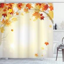 "Ambesonne Fall Shower Curtain, Soft Image of Faded Shedding Fall Leaves from Tree Motion in Nature Concept Print, Cloth Fabric Bathroom Decor Set with Hooks, 75"" Long, Orange Yellow"