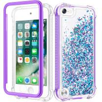 Caka iPod Touch Case 5th 6th 7th Generation, iPod Touch 5 6 7 Glitter Case for Girls Full Body Case with Built in Screen Protector Bling Floating Liquid Cute Case for iPod Touch 5 6 7 (Blue Purple)