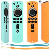 [2 Pack] Silicone Protective Case Compatible with Fire TV Stick 4K Alexa Voice Remote Control, Lightweight Anti Slip Shockproof Remote Cover (Mint Green + Orange)