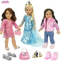18 Inch Doll Clothing Set with Ice Blue Princess Dress and Tiara, Pink Striped T, Fur Vest, Jeans and Fur Boots in Pink, Pink Sequin Dress, Satin Purse and Silver Kitten Heels