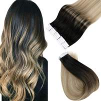 Easyouth Skin Weft Human Hair Extensions 12inch Balayage Color 1B Off Black Fading to 8 Ash Brown Highlighted with 22 Medium Blonde 20pcs 30gram Remy Seamless Tape Skin weft Human Hair Extensions