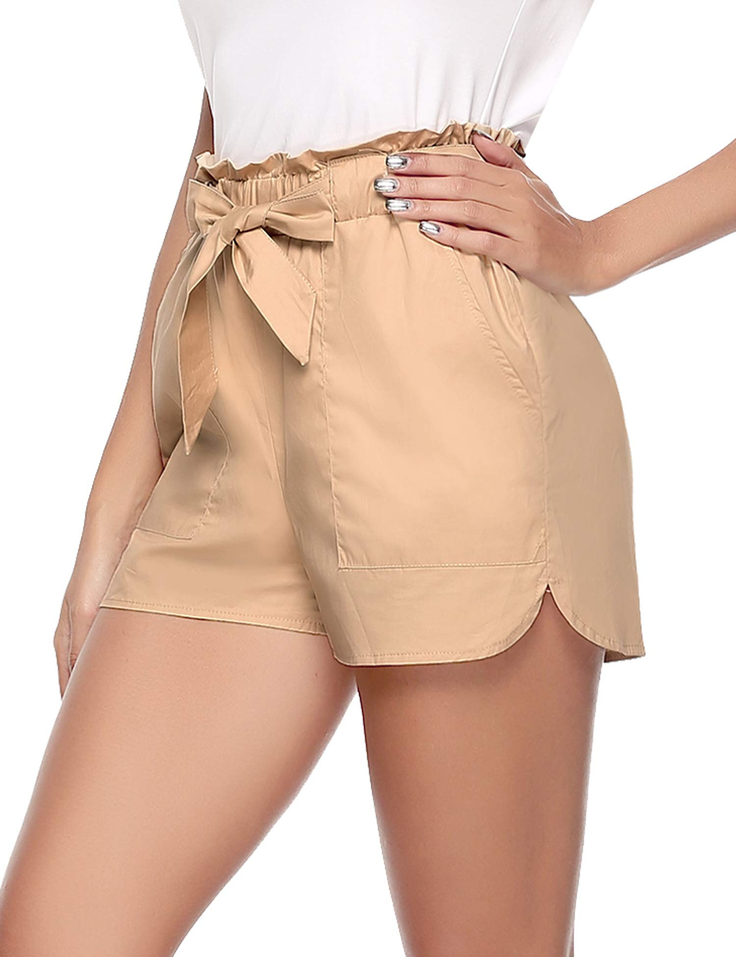 Aibrou Workout Shorts for Women Solid Shorts High Waisted Tie Casual Summer Shorts with Pockets