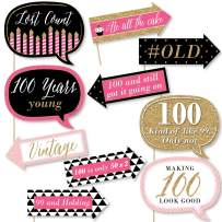 Big Dot of Happiness Funny Chic 100th Birthday - Pink, Black and Gold- Birthday Party Photo Booth Props Kit - 10 Piece