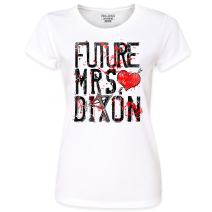 Pins & Bones Women's Future Mrs Dixon, Crossbow, Zombie, White Cotton T-Shirt