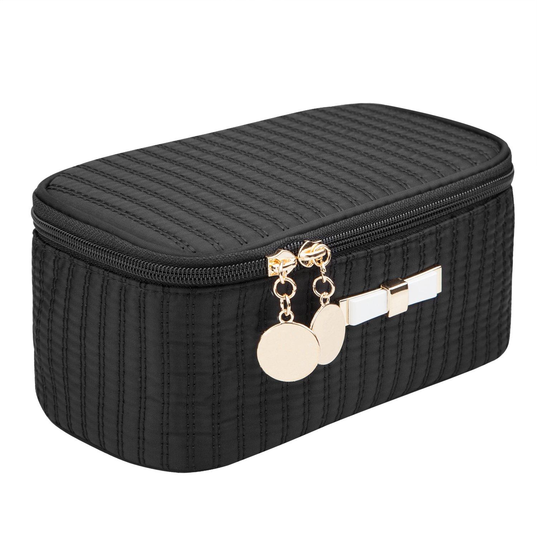 EN'DA Small Makeup Bags for Purse Travel Makeup Pouch Mini Cute Cosmetic Bag for Women Girls (Dark Black)