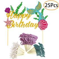 Mermaid Party Supplies and Decorations Cake Topper and 24 Cupcake Toppers for Under the Sea Party, Birthday Party, Baby Shower and Wedding