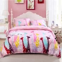 LAMEJOR Duvet Cover Sets Twin Size Cartoon Giraffe Luxury Soft Bedding Set Comforter Cover (1 Duvet Cover+2 Pillowcases) Pink