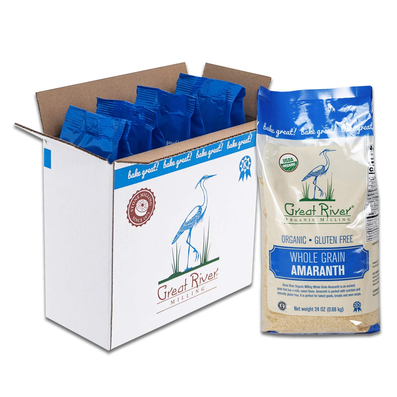 Great River Organic Milling, Whole Grain, Amaranth, Gluten Free, Organic, 24 Ounces (Pack of 4)