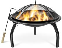 "Sorbus 22"" Fire Pit with Screen, Poker, Foldable Legs, Includes Portable Carrying Bag, Great BBQ Grill for Outdoor Patio, Backyard, Camping, Picnic, Bonfire, etc (FP-22)"