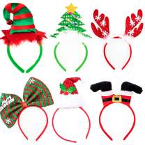 Whaline Christmas Headbands, 6 Pack Reindeer Antler Xmas Tree Head Hat Toppers for Christmas Holiday Parties, Annual Holiday, Photos Booth Red