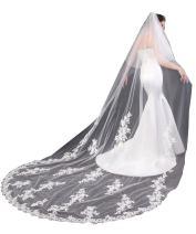 EllieHouse Women's 2 Tier Lace Wedding Bridal Veil With Comb L06