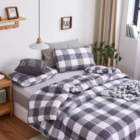 "Yasosing Home Comforter Set All Season Plaid Buffalo Pattern Printed in Grey White Soft Brushed Microfiber Grid Gingham Duvet Sets 3Pcs(1 Down Alternative Comforter +2 Pillowcases) King Size 104""x90"""