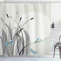"""Ambesonne Dragonfly Shower Curtain, Dragonflies on Flowers and Branches Flourishing Nature Spring Time Predator Print, Cloth Fabric Bathroom Decor Set with Hooks, 75"""" Long, Beige Black"""