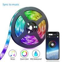 LED Strip Lights,XYOP Waterproof LED Lights Strip Phone App Controlled RGB LED Lights Chase Effect Music LED Strip Lights Kit Color Changing Lights Bluetooth 12V(6.54FT/2M)