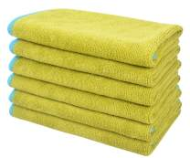SINLAND All-purpose Microfiber Cleaning Cloths Wiping Highly Absorbent & Lint Free Dusting Rags for Home and Kitchen 12Inchx12Inch Chartreuse 6 Pack