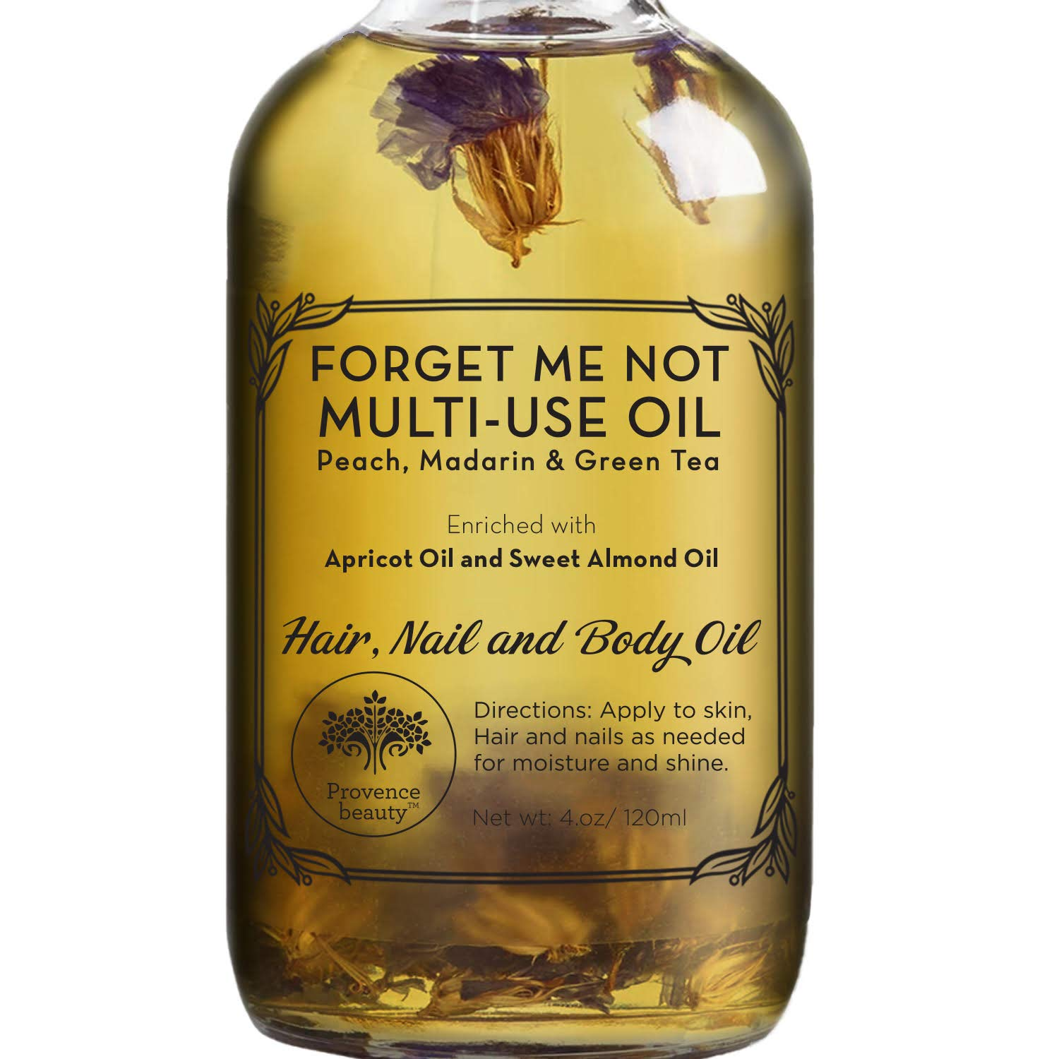 Multi-Use Oil for Face, Body and Hair - Forget Me Not - Organic Blend of Apricot, Vitamin E and Sweet Almond Oil Moisturizer for Dry Skin, Scalp and Nails - Peach, Mandorin and Green Tea - 4 Fl Oz