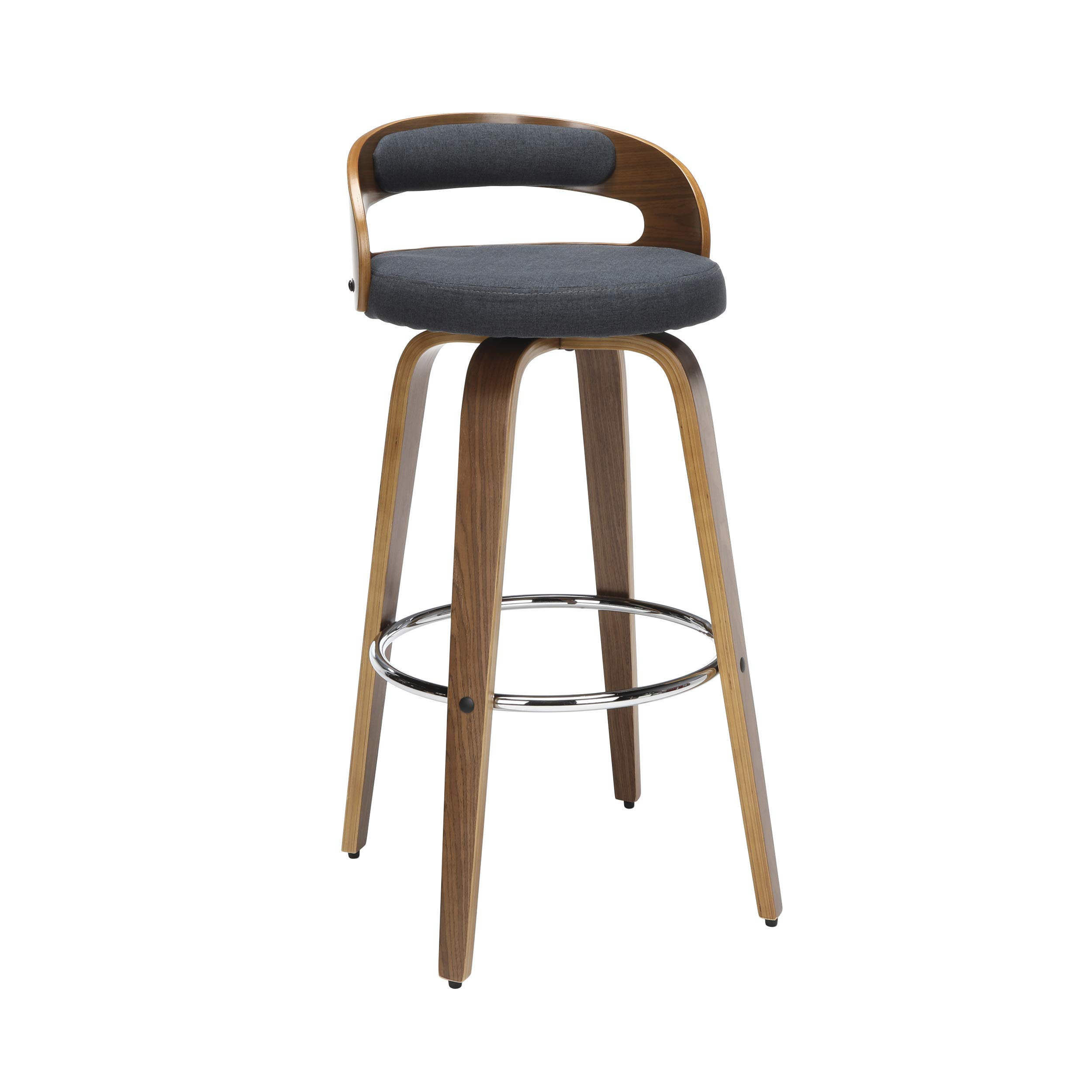 "OFM 161 Collection Mid Century Modern 30"" Low Back Bentwood Frame Swivel Seat Stool with Fabric Back and Seat Cushion, in Walnut/Navy (161-WF30C-NVY)"