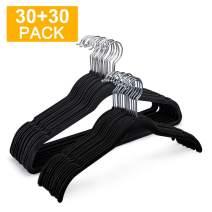 HOUSE DAY Velvet Hangers Non Slip Velvet Suit/Dress Hangers 60 Pack Velvet Shirt Hangers 16.5 &17.5 Inch Space Saving Velvet Clothes Hanger Premium Non Slip Hanger for Coats Suit Dress,Black
