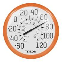 """Taylor Precision Products 6700OR Big & Bold Wall Thermometer, 13.25"""", Orange"""