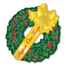 Support Our Troops Yellow Wreath Magnet