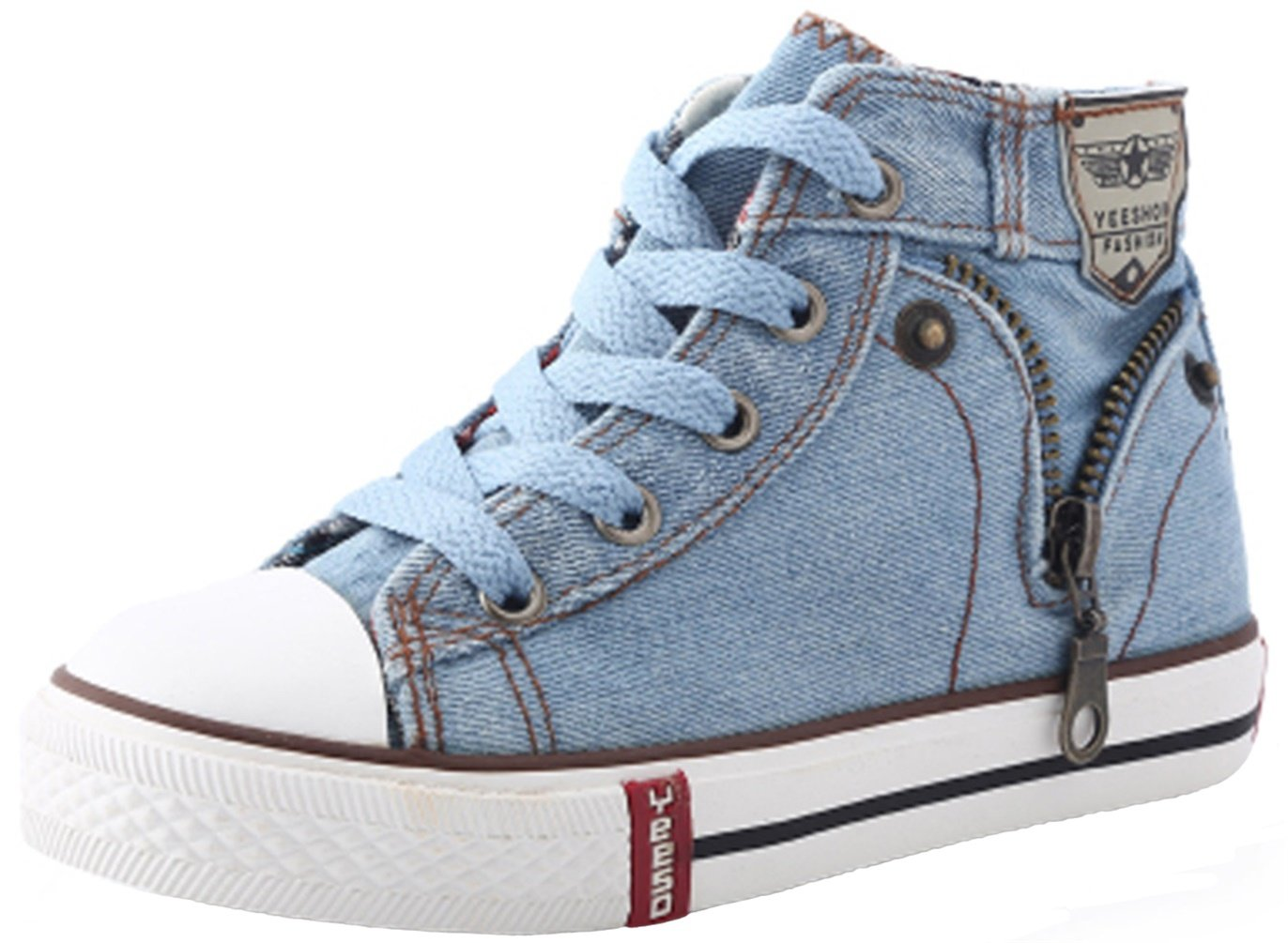 PPXID Boy's Girl's High Top Canvas Sneaker Lace up Casual Board Shoes Shoes-Light Blue 8.5 US Size