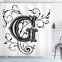 """Ambesonne Letter G Shower Curtain, Middle Inspired Uppercase Letter Royal Title Classic Design, Cloth Fabric Bathroom Decor Set with Hooks, 75"""" Long, Black Grey G"""