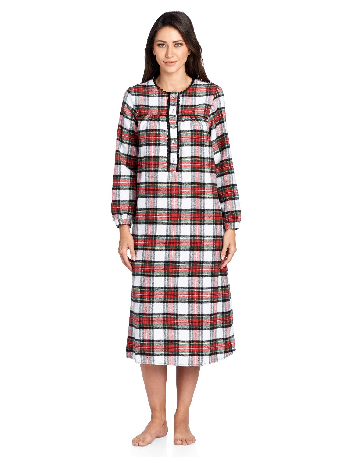 Ashford & Brooks Women's Flannel Plaid Long Sleeve Nightgown Sleepwear